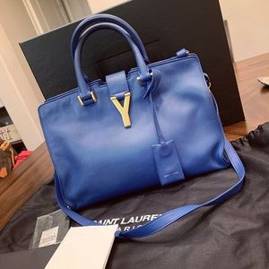 YSL Yves Saint Laurent Handbag satchel Purse blue